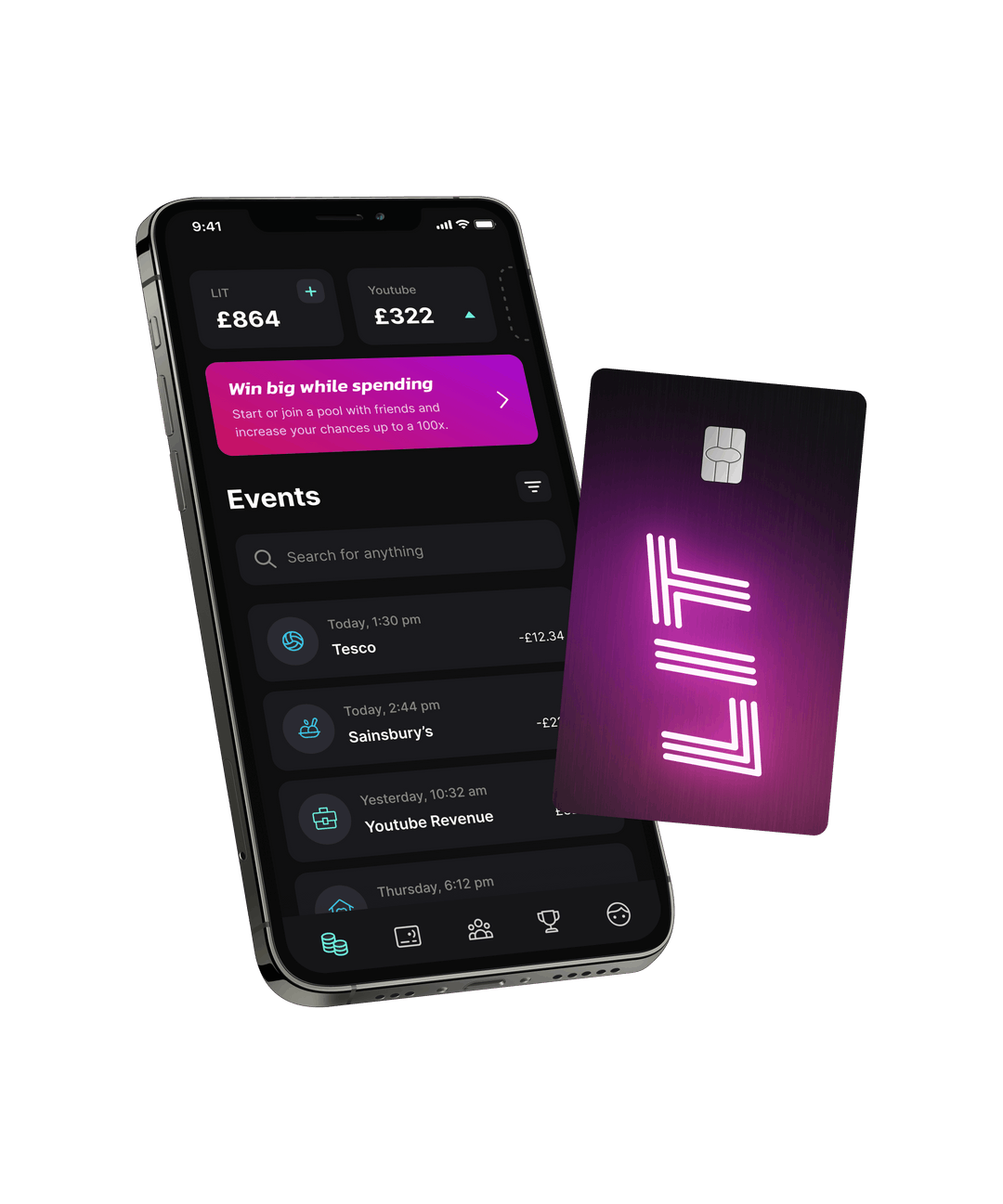 LIT app and card